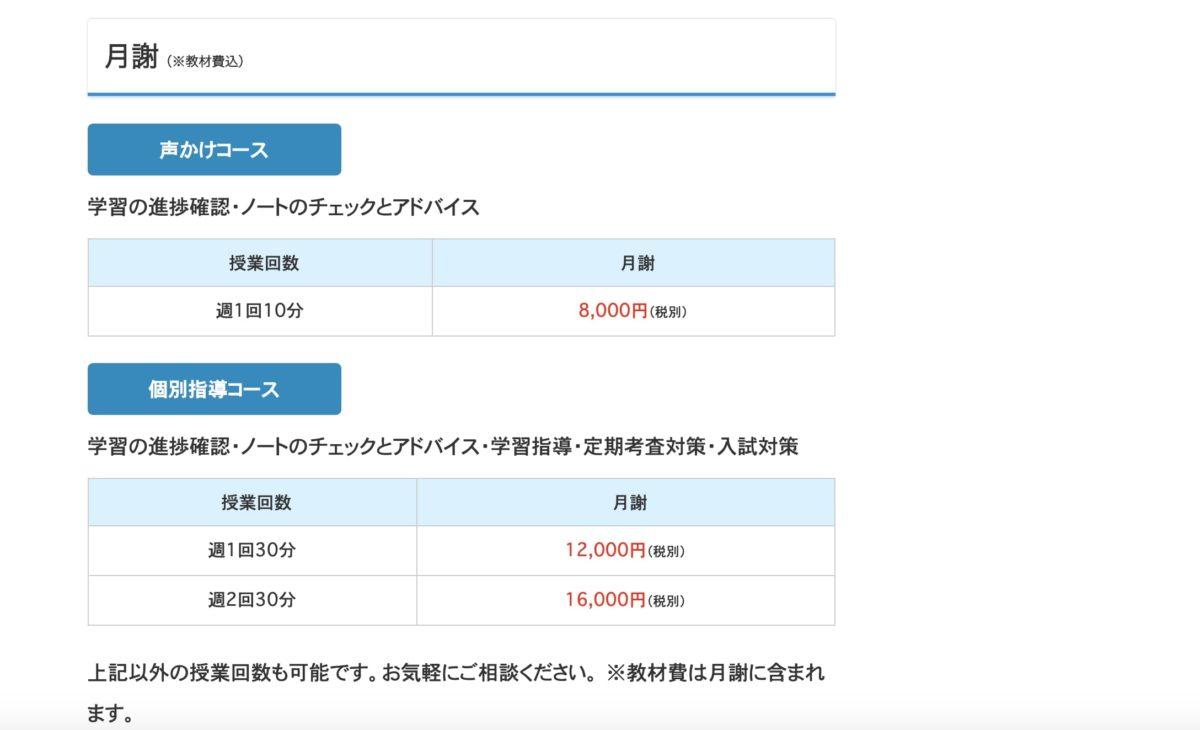 ネット松陰塾の料金プラン